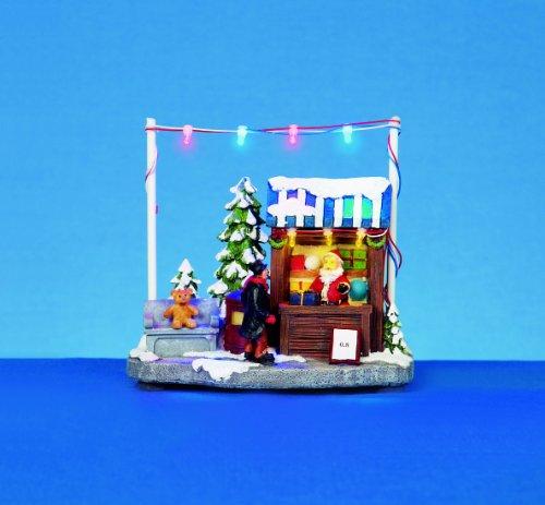 Premier-Set di decorazioni natalizie a Led, 15 cm, funzionamento a batteria con Babbo Natale Shop decorazione di Natale