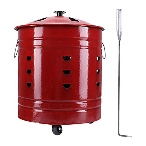 Hemoton Stainless Steel Fire Pit Wood Grabber Poker Stainless Steel Burn Can for Outdoor Home Yard Accessories