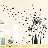decalmile Adesivi Murali Dente di Leone Adesivi da Parete Farfalla Decorazione Murale Camera da Letto Soggiorno Ufficio