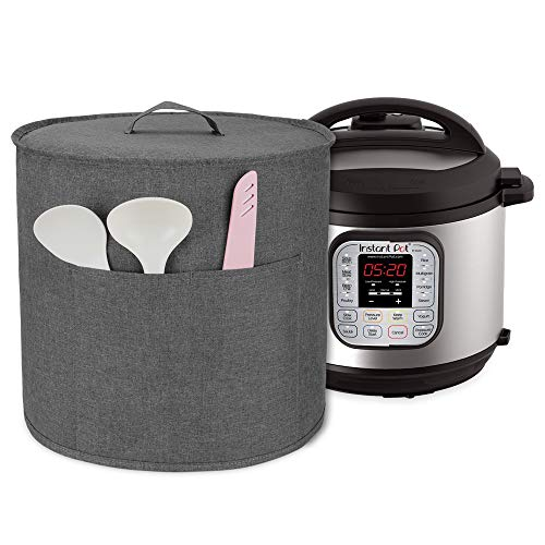 Luxja Dust Cover for Instant Pot Duo 6 Litre, Cover with Pockets for Pressure King Pro 6 Litre and Extra Accessories, Grey