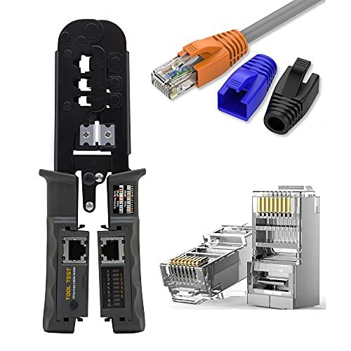 MAYLINE - Juego de herramientas de red, herramienta de reparación de cables cortador de pelado, crimpadora coaxial, perforadora RJ11 RJ45 Cat5 Cat6 pelacables detector de datos