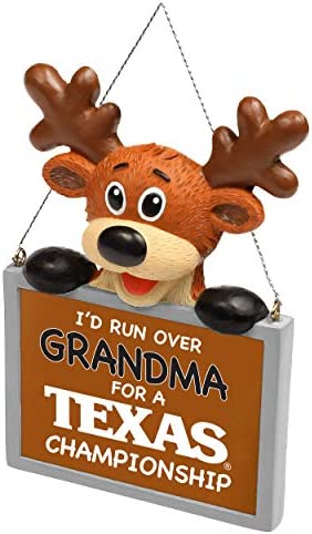 FOCO NCAA Reindeer with Sign I d Run Over Grandma for A Championship Resin Christmas Tree Ornament product image