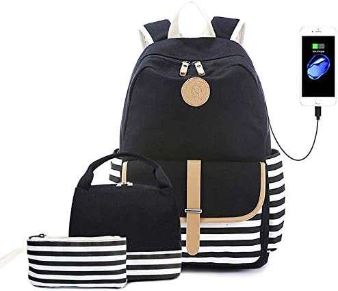 Lightweight Canvas Backpack Cute Stripe School Backpack Bookbag for Teen Girls Women with USB product image
