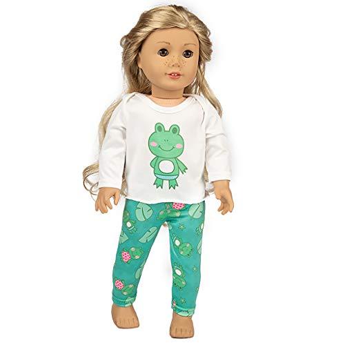 American Girls Ropa - Ropa Muñecas para American Girl 18 Pulgadas Traje de Pijamas del Rana Impresa Verano 2019 Muñecas Accesorios Doll Ropa Set, Sencillo Vida