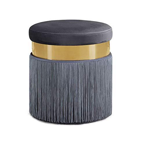 Repose-Pieds Style européen Dressing Tabouret Maquillage Chaise Moderne Canapé en Daim Tabouret Rond Ménage Changement Chaussure Banc Gland Hauteur 44 × Diamètre 40 cm GW (Couleur : Gray)