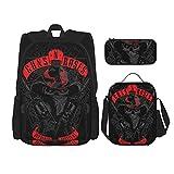 Guns'N-Roses-Skull 2018 Mochila de viaje para acampar juvenil, mochila escolar de 3 piezas, bolsa escolar+bolsa de almuerzo combinación
