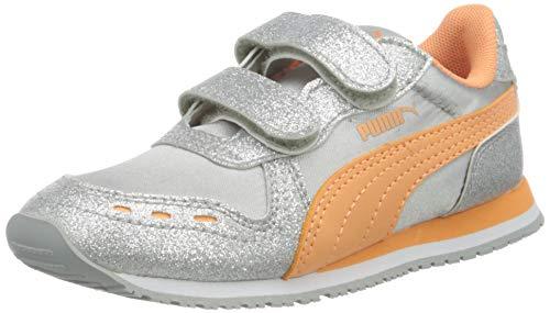 Puma Cabana Racer Glitz V Inf, Mädchen Sneaker, Grau (Puma Silver-Cantaloupe-Puma White 04), 21 EU