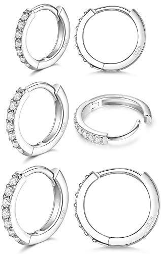 LIHELEI Silber Creolen Ohrringe für Damens, S925 Sterling Silber Creolen mit AAA Zirkonia, Hypoallergen Klein Schlafen Kreolen für Geburtstagsgeschenk-3 Paar Silber