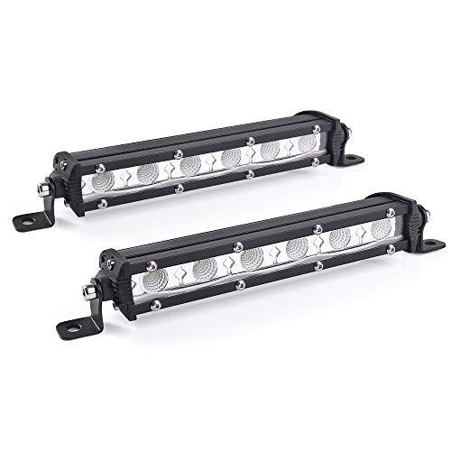 SS VISON 7 Inch Ultra-Slim Single Row LED Light Bar - Fog Driving Flood Work Lights for Off Road Truck Car ATV SUV UTE UTV Boat - Adjustable Mounting Brackets(2 Pack)