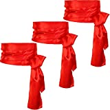 Sash Belt Pirate Sash Desert Prince Sash Long Silk Sash for Costume Accessories, 5.5 Inch Wide, 140 Inch Long (Red, 3 Pieces)