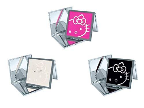 Hello Kitty Miroir compact carré blanc, rose et noir