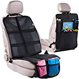 Car Seat Protector + Rear Seat Organizer For Kids - Waterproof & Stain Resistant...