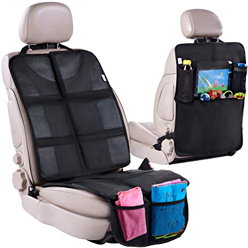 Helteko Car Seat Protector with Thickest Padding + Backseat Car Organizer, XL Largest Car Seat Cover for Child Baby Carseat, Waterproof & Durable 600D Fabric, Kick Mat Back Seat w/ Storage Pockets