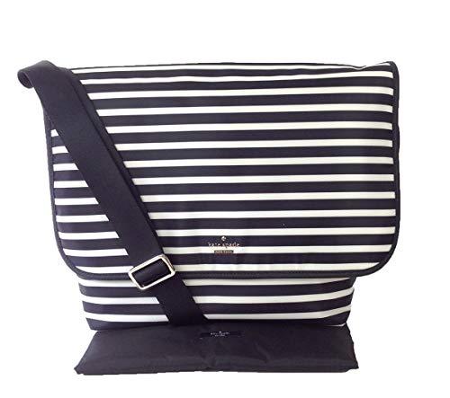 kate spade new york Classic Nylon Kent Baby Messenger Bag, Black/Clotted Cream, One Size