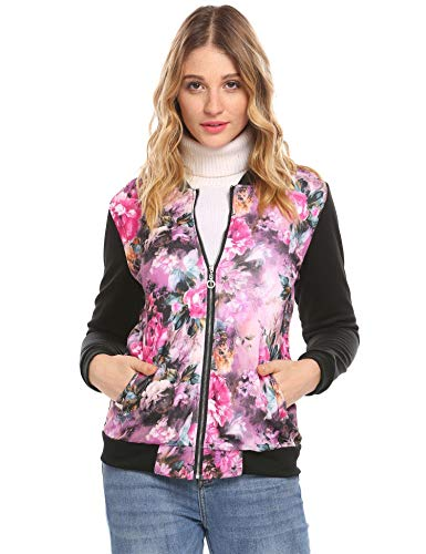 Zeagoo Spring Floral Print Zipper Jacket Classic Ful Sleeve Fall Short Bomber Jacket Coat(Purple,Small)