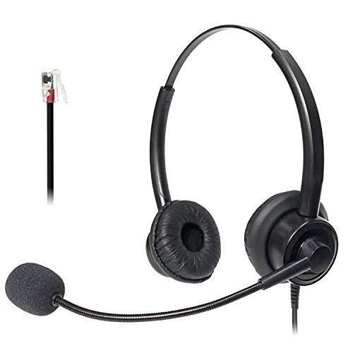 Xintronics Auriculares Teléfono Fijo Binaural RJ9, Cascos con Cancelación de Ruido...