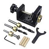 KONGZIR Guía for trabajar la madera de perforación Locator Kit Clavijas de madera de ebanistería de bolsillo Broca for la herramienta de localización de Carpintería Perforadora agujero