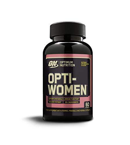 Optimum Nutrition ON Optiwomen, Multivitamin  und Mineralstoffe Kapseln für Frauen mit Folsäure, Vitamin C, Vitamin D und B Komplex Hochdosiert, Haut und Haare Vitamine, 30 Portionen, 60 Kapseln