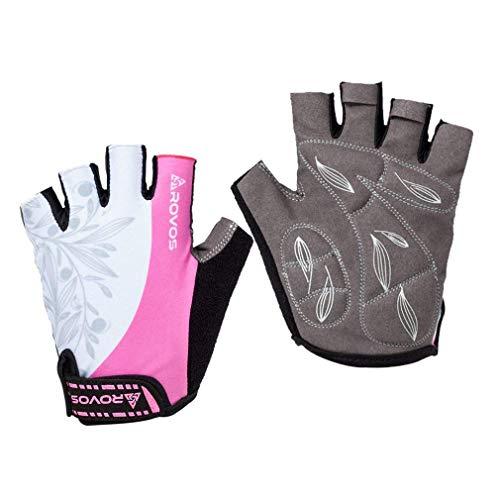 ROVOS Women's Light Non-Slip Half Finger Padded Cycling Gloves...