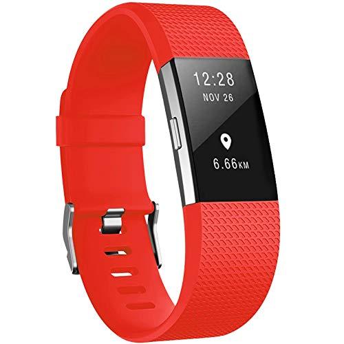 Yandu - Cinturino di ricambio per Fitbit Charge 2, morbido e confortevole, per Fitbit Charge 2 (rosso arancione, piccolo)