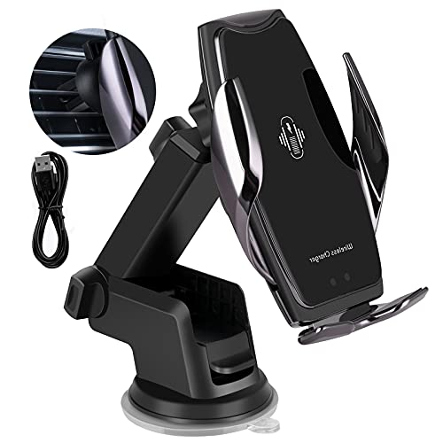 Soporte de cargador de coche inalámbrico, de carga rápida, soporte para teléfono de coche, soporte para parabrisas delantero, soporte para teléfono compatible con iPhone12/Samsung S20/Note 20