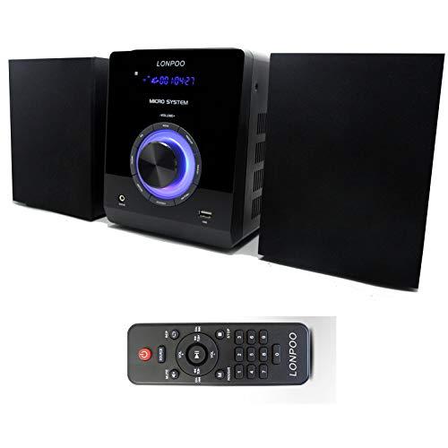 LONPOO Micro CD Système, Mini Chaînes Hi-FI 30 W avec Bluetooth, USB, Radio FM, MP3, CD-R / CD-RW, Aux, Lecture de CD, télécommande, Audio Domestique (LP-886 Noir)