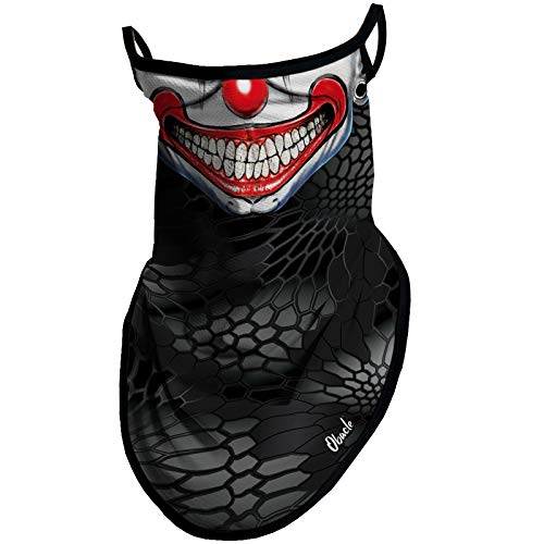 Obacle Bandana Face Mask with Ear Loops Neck Gaiter Face Mask Scarf Face Cover for Men Women (Clown Smile Face Red Lip)