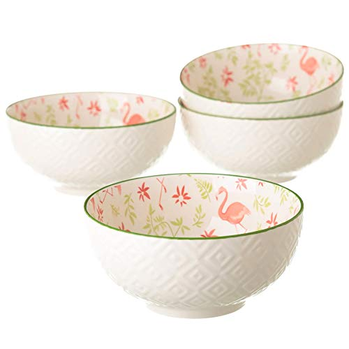BARCINO NATURALS Schüssel-Set mit 2 Keramik Snackschalen Kleine - Porzellan Schälchen für Müsli und Snacks mit Vintage Design Kaktus Flamingo Ananas. (Flämisch, 14,9x14,9x7,20cm)