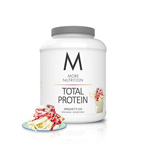 MORE NUTRITION Total Protein (1 x 1500 g) - Whey Eiweißpulver mit Casein, Aminosäuren und Laktase für Muskelaufbau (Spaghetti Eis)