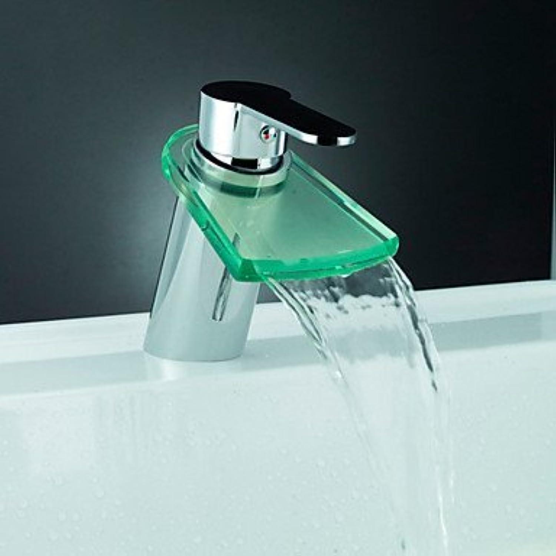 LED Glasvase Becken Wasserfall Einlochmontage Badarmaturen Wasserhahn Hand