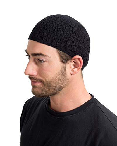 Candid Signature Apparel Zigzag Threaded Skull Cap Chemo Kufi Beanie Hats for Men Women (Black (Zigzag))
