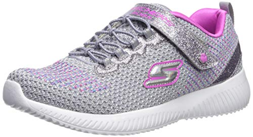 Skechers Girls' BOBS Squad-Glitter Madness Trainers, Grey (Gray/Hot Pink Glitter & Embroidered Sneaker Gyhp), 1.5 UK (34 EU)