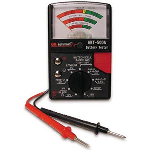 Gardner Bender GBT-500A Analog 1.5 V Button Cell/22.5 Photo/AA/AAA/12 V/9 V/Lantern Cells & More, Leads Battery Tester,14 Battery Range, Black