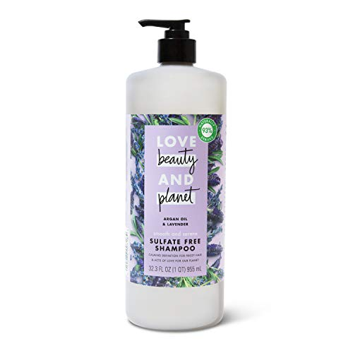 Love Beauty And Planet Smooth and Serene Sulfate-Free Shampoo for Frizz Control Argan Oil & Lavender Paraben-Free, Silicone-Free, Vegan 32.3 oz