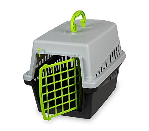 MEDIA WAVE store 10570 Trasportino con griglia in plastica per Cani e Gatti da Viaggio 50 cm (Verde)