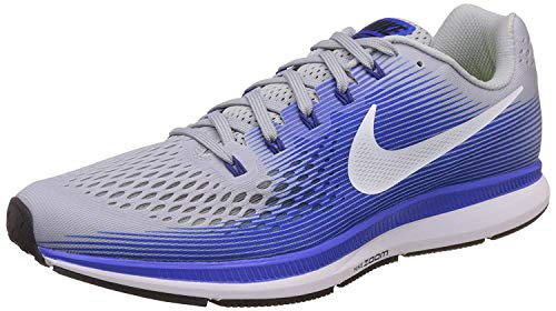 Nike Mens Air Zoom Pegasus 34 Running Shoes (8.5, Grey/Blue-EW)