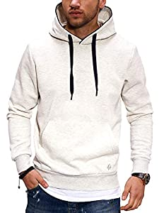 JACK & JONES Herren Hoodie Kapuzenpullover Casual Unifarben Meliert (L, White Melange/Navy)