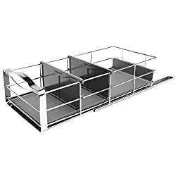 silver and black pull out cabinet organizer to install