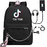 JDSWAN Unisex Tik Tok Zaino Con Porta USB Backpack per Laptop e Zaino per zaino Casual Maschili e Femminili Moda Giovanile(20-35L)