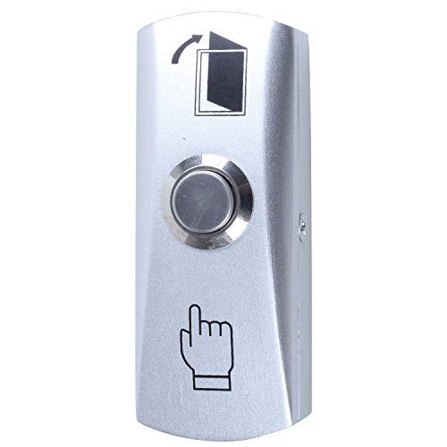 MLXG - Interruptor eléctrico para puerta paso de salida Momentanee redondo, botón pulsador, color plateado