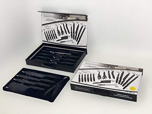 Royalty Line - Set di 17 coltelli da cucina, rivestimento in marmo super affilato, anti-esplosione, anti-erosione, acciaio inossidabile