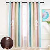 Hughapy Star Curtains for Girls Bedroom Kids Room Decor Light Blocking Voile Overlay Princess Star Hollowed Curtain Colorful Striped Layered Window Curtain, 1 Panel (42W x 63L, Pink / Blue)