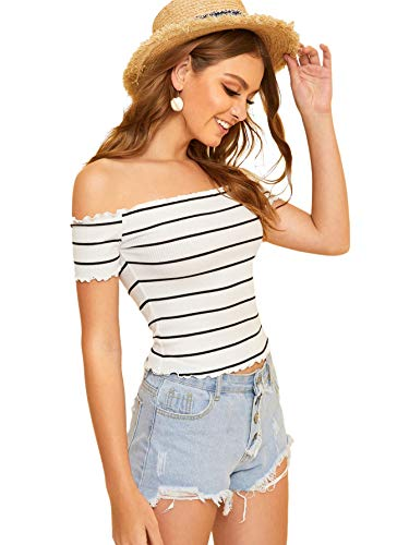 Floerns Women's Off The Shoulder Crop Top Striped T Shirt B White S