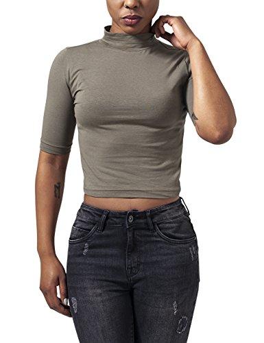 Urban Classics Ladies Cropped Turtleneck Tee T-Shirt, Verde (Olive 176), L Donna