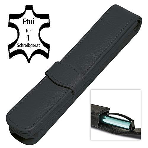 Fabricado de cuero genuino Estuche para 1 bolígrafo con dimensiones de 15 x 2.5 x 2.7 cm Se adapta a un instrumento de escritura largo Protege el instrumento de escritura
