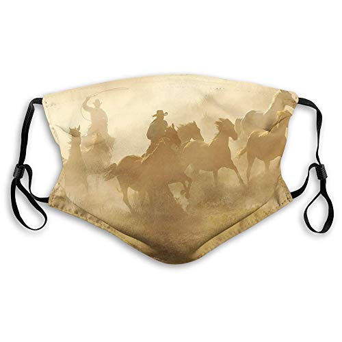 Western, Galloping Running Horses in Desert 2 Cowboys Roping Dusty Wild Rural Countryside,Pale Brown,Washable Reusable Face Bandanas Balaclava Mask with Adjustable Elastic Strap