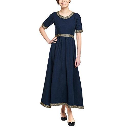 Elbenwald Mittelalter Damen Kleid Ennlin Kurzarm mit Schnürung Baumwolle blau - M
