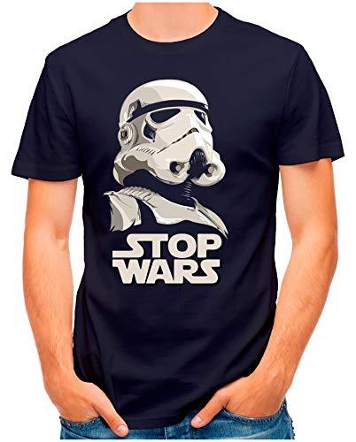 OM3® - Stop-Wars - T-Shirt   Herren   Sturmtruppen for Peace No War SciFi Parody   Navy, L