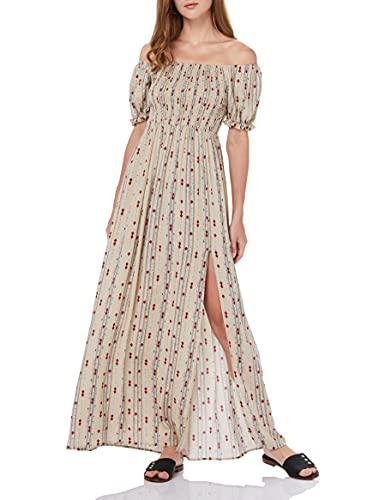 find. Marchio Amazon Vestito Estivo Donna Maxi Casual per L'Estate, Floreale, Spalline Scoperte, Maniche Corte e Spacchetti Laterali, Colore Beige
