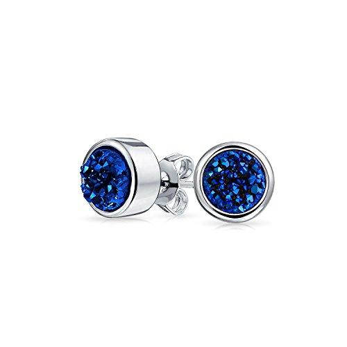 Boho Trendy Organic Gemstone Bezel Set Dyed Navy Royal Blue Druzy Quartz Stud Earrings For Women For Teen